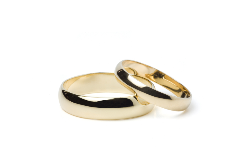 gold wedding band set