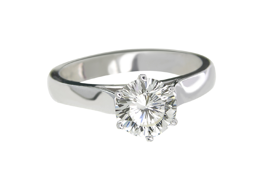 silver solitaire diamond engagement ring
